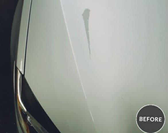 White Car with Limestone Stain